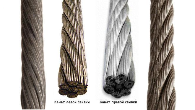 Cвивка канатного троса левая и правая