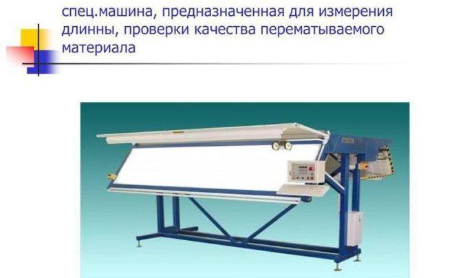 Машина предназначенная для измерения длинны, проверки качества перематываемого материала