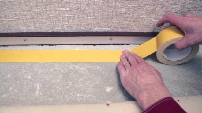 Схема наклеивания скотча на линолеум