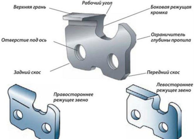 Строение цепи бензопилы