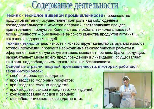 Должностные обязанности технолога пищевого производства бухгалтер южное бутово