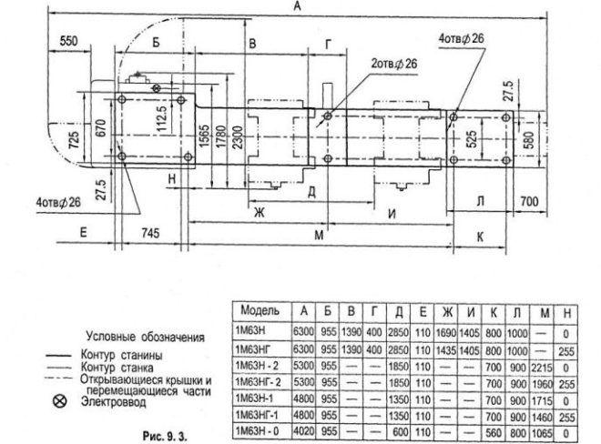 Установочный чертеж токарного станка