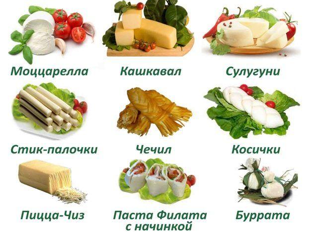 Виды сырной продукции