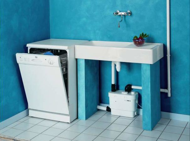 Один из вариантов подключения канализационного насосного устройства для кухни