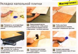 Этапы укладки напольной плитки