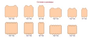 Размеры и сечения профилированного бруса