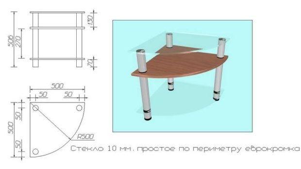 Схема стеклянного столика