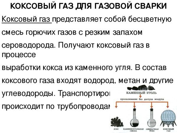 Коксовый газ для сварки