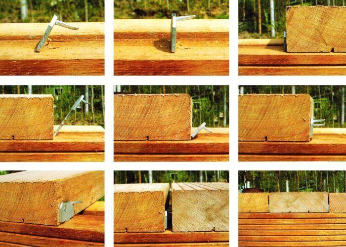 Монтаж деревянной террасной доски с помощью крепежа гвоздек классик