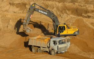 Процесс добычи карьерного песка