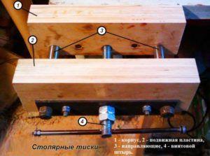 Самодельные столярные тиски из брусьев