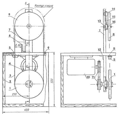 Схема рамы ленточнопильного станка