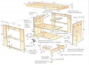 Схема верстака столярного из дерева