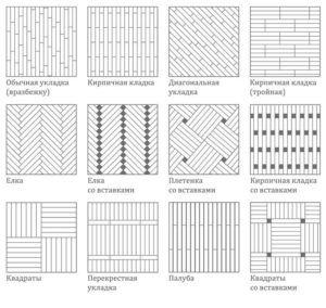 Виды схем палубной укладки ламината