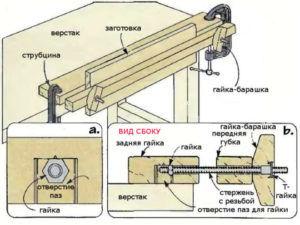 Монтирование столярных тисков