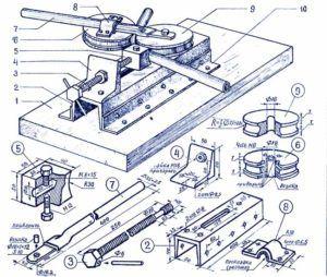 Чертеж устройства деревянного трубогиба