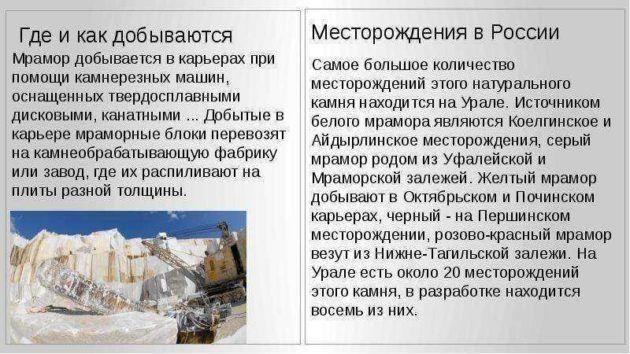 Добыча мрамора на Урале