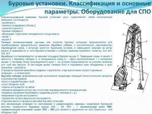 Классификация буровых установок по глубине