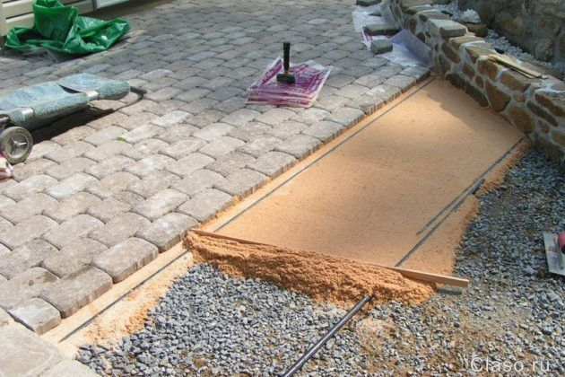 Подготовка основы для укладки песчаника