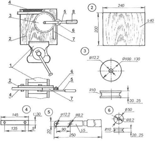 Прокатный механический трубогиб - чертеж