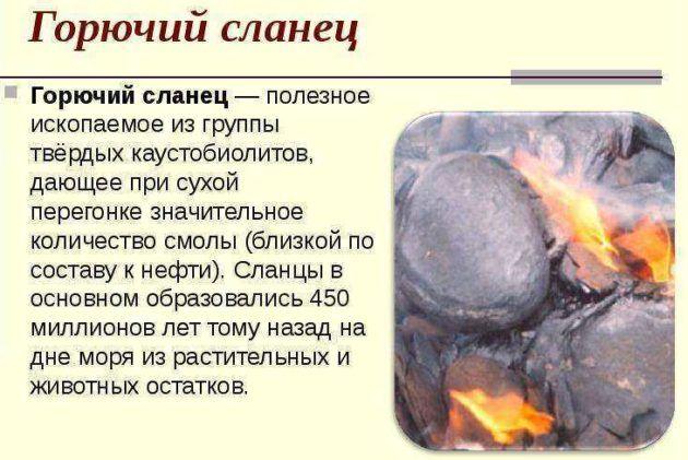 Разновидности горючих сланцев
